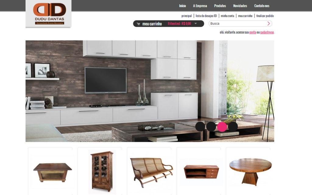 Site Dudu Dantas - Loja virtual de móveis de madeira pura, marcenaria.