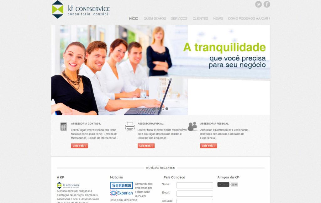 Site KF Contservice - Serviços Contábeis, Assessoria Fiscal e Assessoria em Departamento de Pessoal